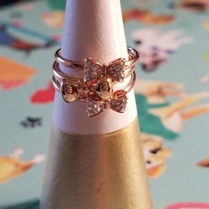 Gold Pave Bow Ring Set Adjustable